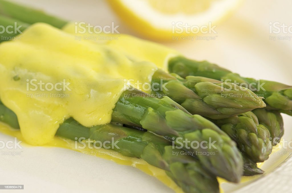 Stack of Asparagus Spears with Hollandaise Sauce royalty-free stock photo