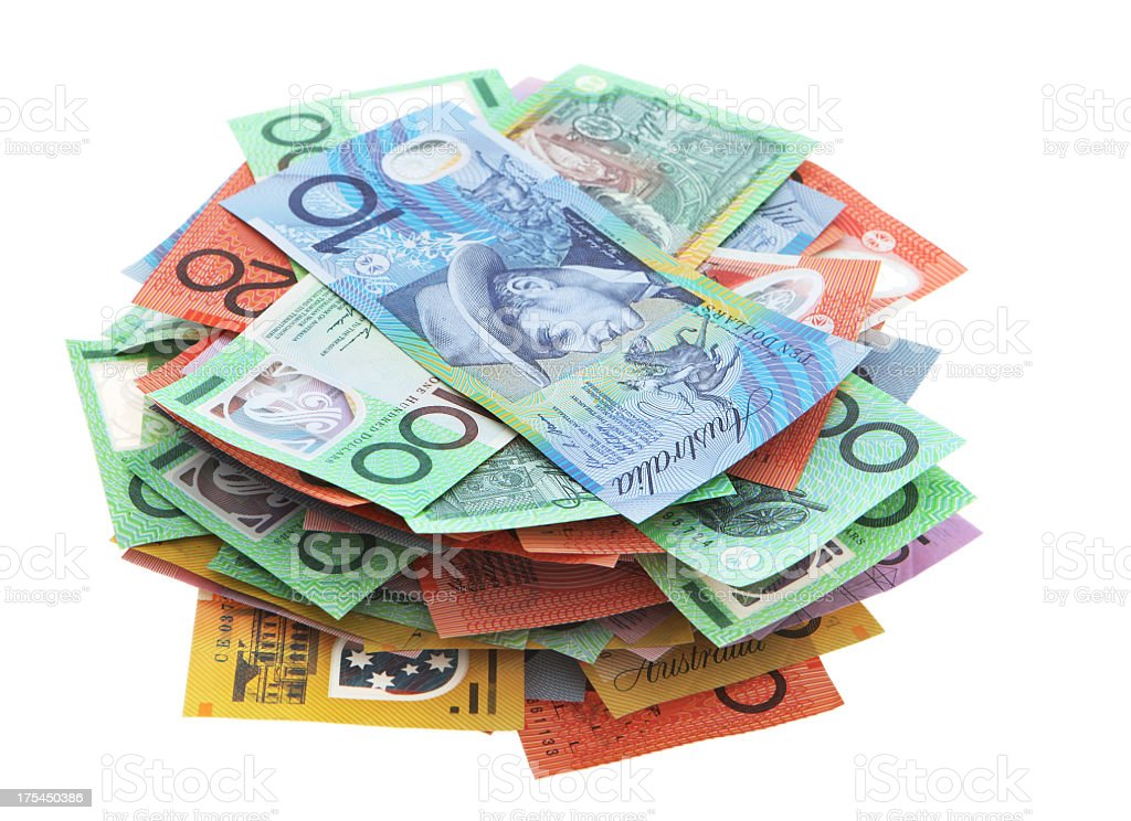 Stack of Australian banknotes on white background stock photo
