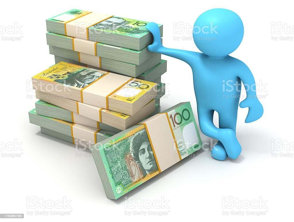 Stack of Australian Dollar bills. stock photo