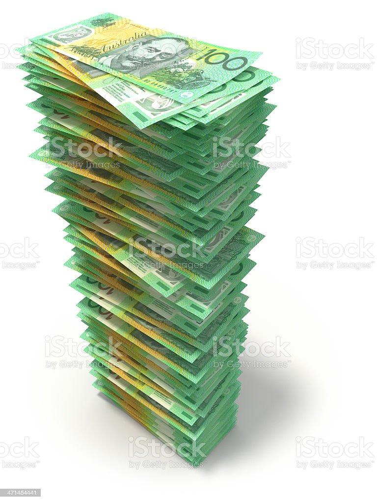 Stack of Australian Dollars royalty-free stock photo