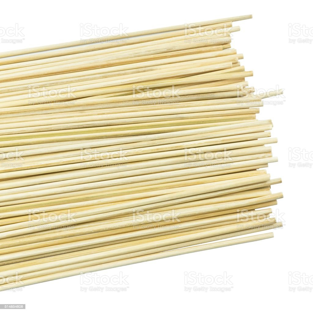 Stack of Bamboo Skewers on A White Background stock photo