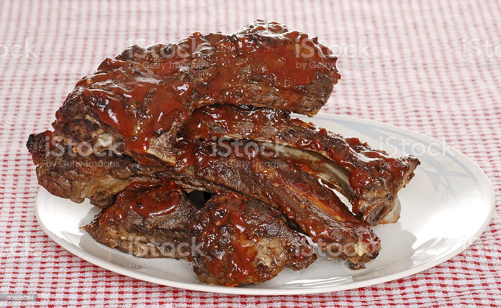 Stack of barbecue beef spare ribs with sauce royalty-free stock photo