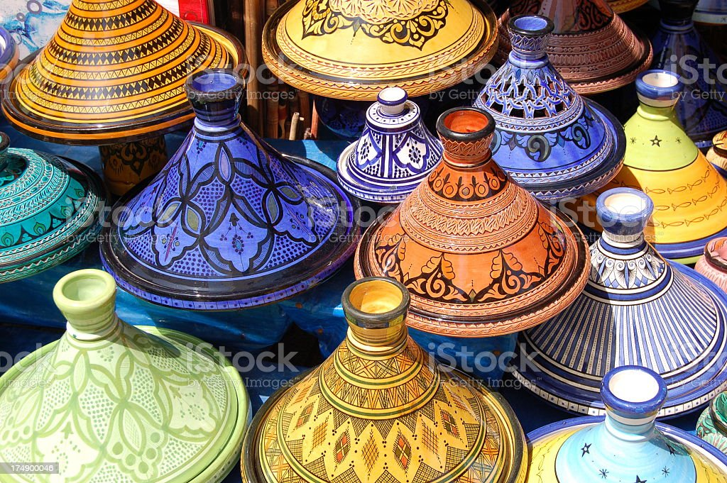 Stack of beautiful colored Moroccan Tajine pots stock photo