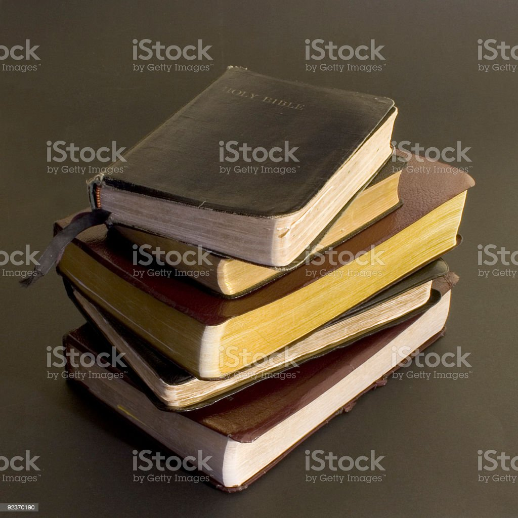 Stack of Bibles stock photo