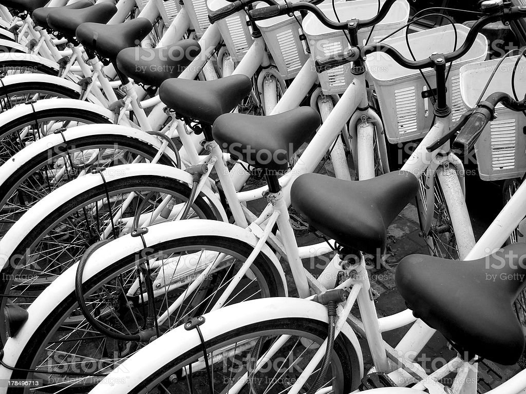 Stack of bicycles for hire in the street of Beijing royalty-free stock photo