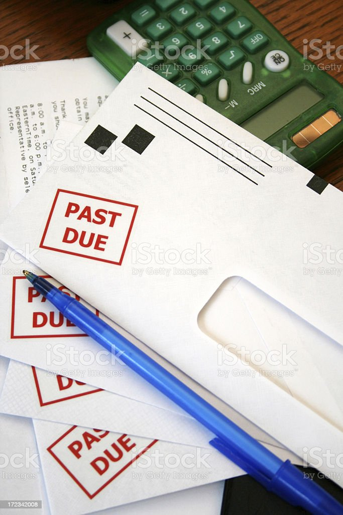 Stack of bills stock photo
