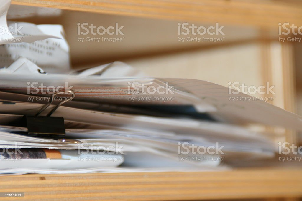 Stack of bills to pay stock photo