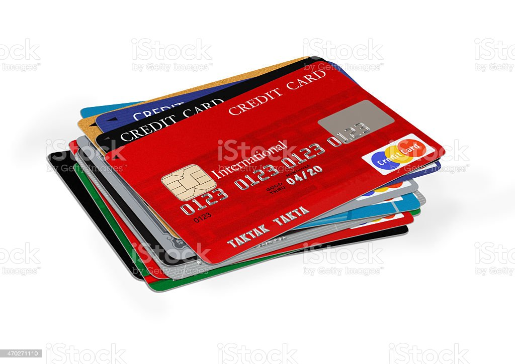 Stack of blank credit cards on white background stock photo