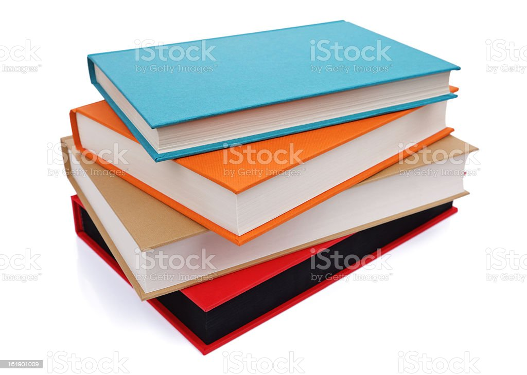 Stack of blank hardcover books on white background stock photo