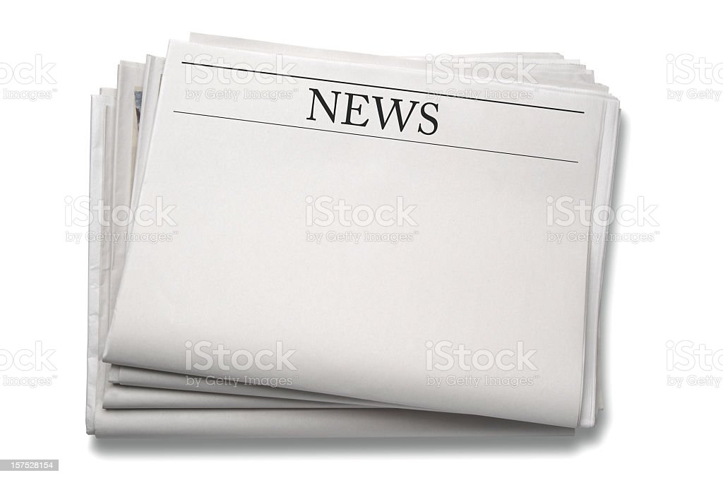 A stack of blank newspapers against a white background stock photo