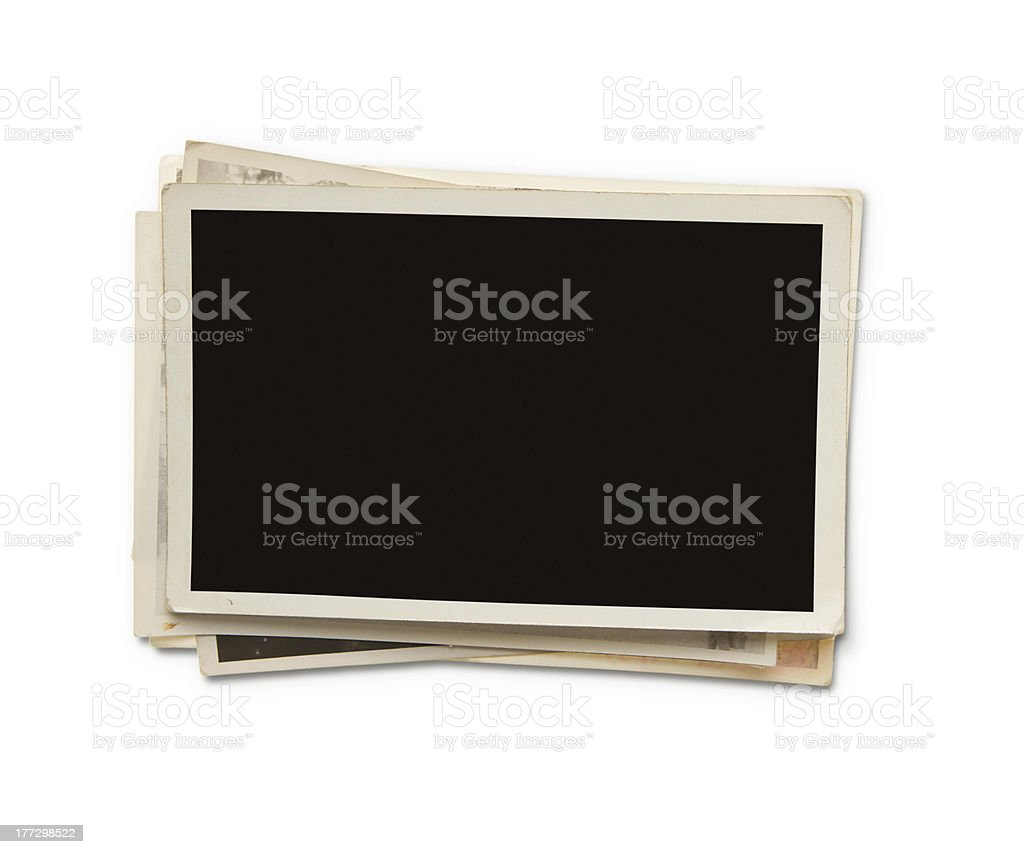 Stack of blank photos with clipping path stock photo