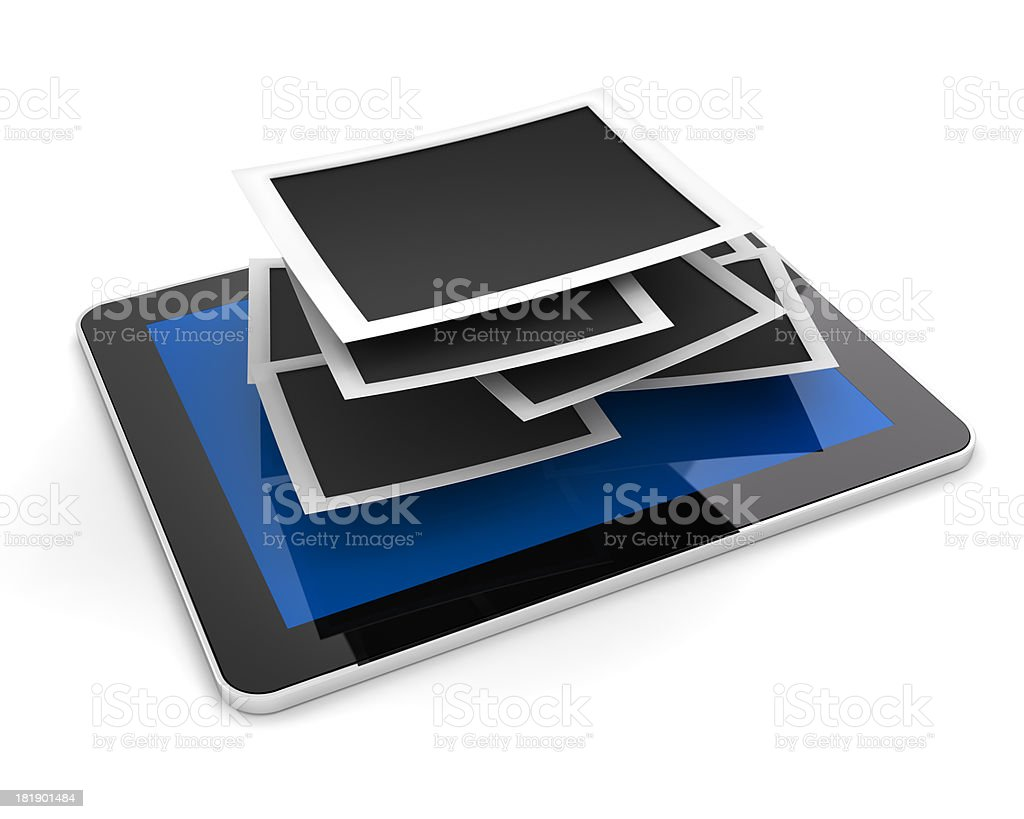 Stack of blank picture frames on a tablet stock photo