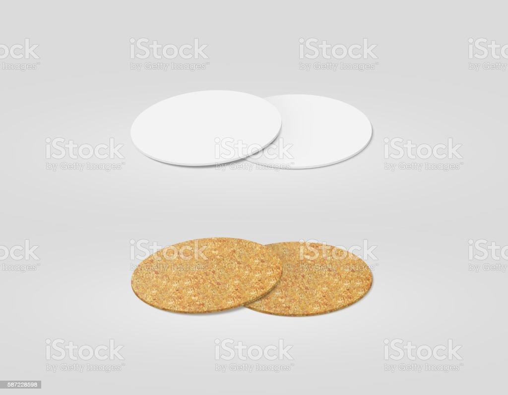 Stack of blank white and cork textured beer coasters mockup, stock photo