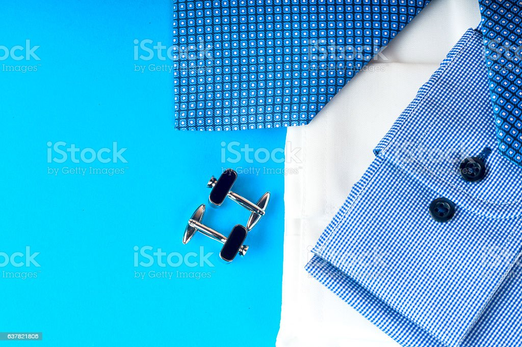 Stack of blue and white shirt closeup stock photo
