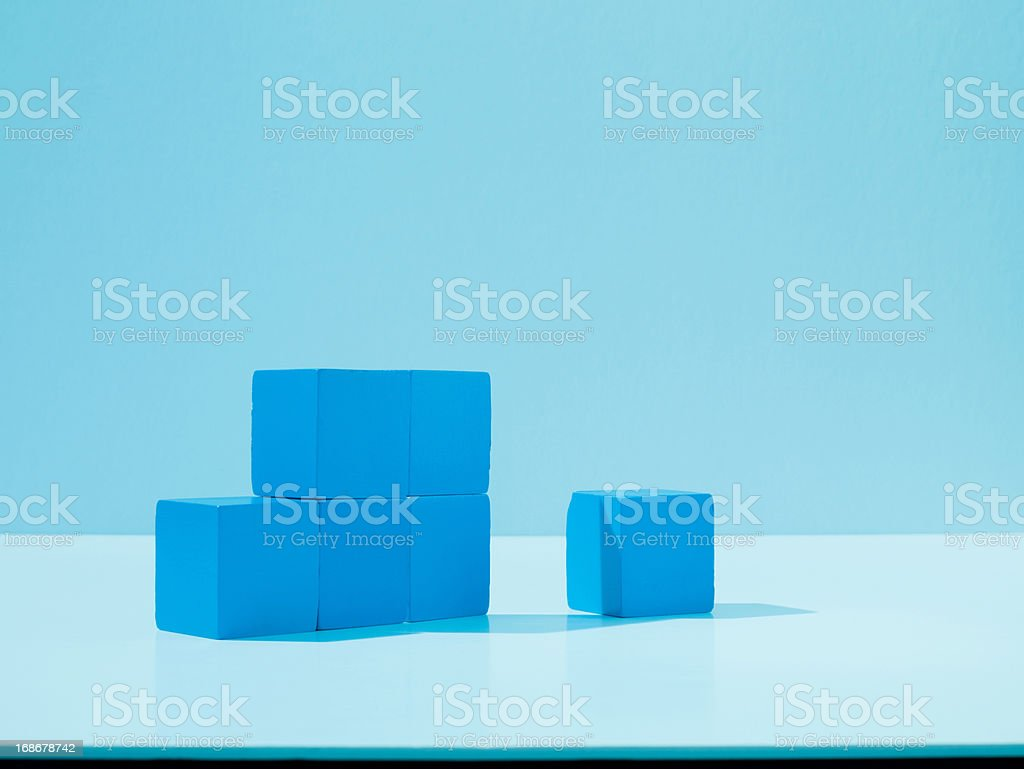 Stack of blue blocks royalty-free stock photo