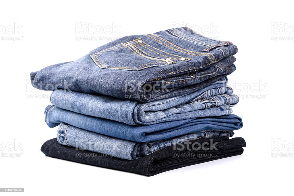 stack of blue jeans royalty-free stock photo