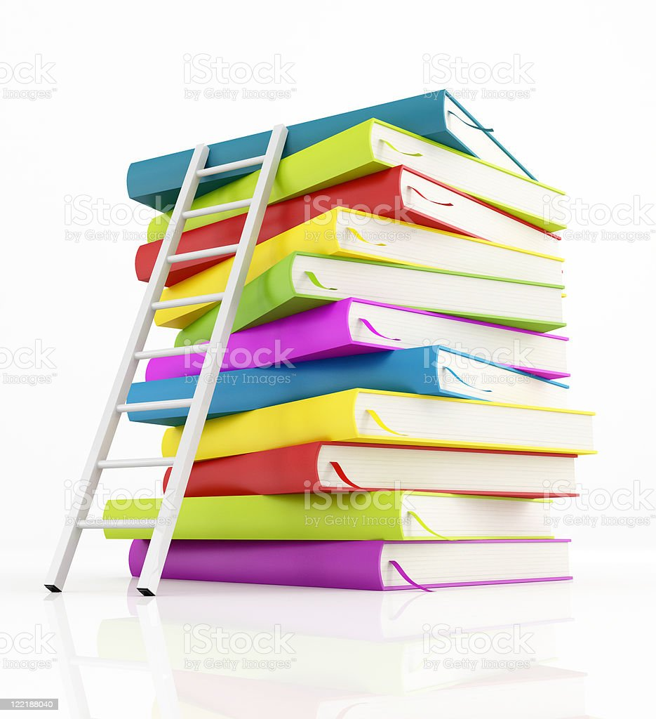 stack of book and white ladder royalty-free stock photo