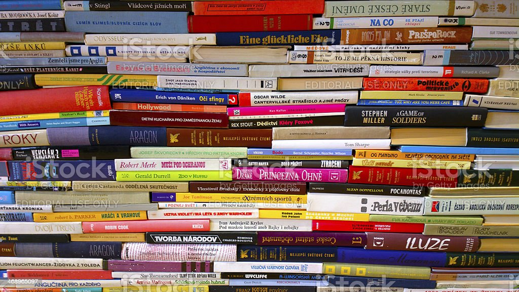 Stack of book spines stock photo