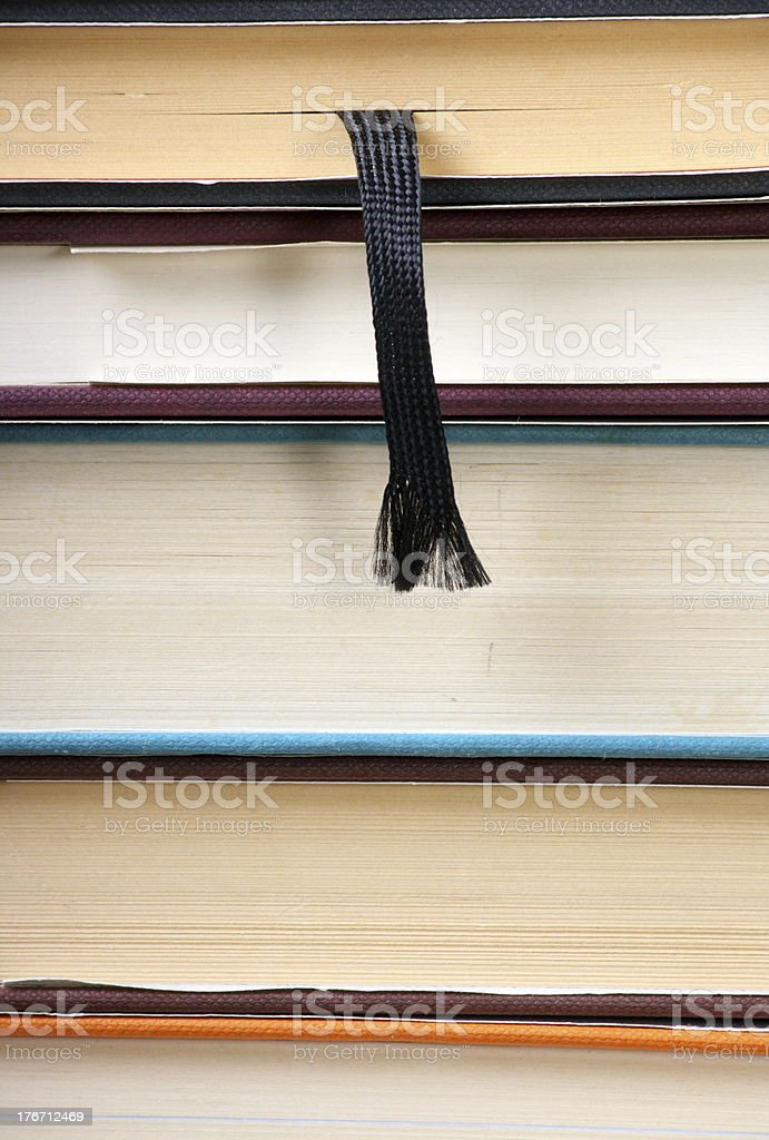 stack of Books and Bookmark royalty-free stock photo