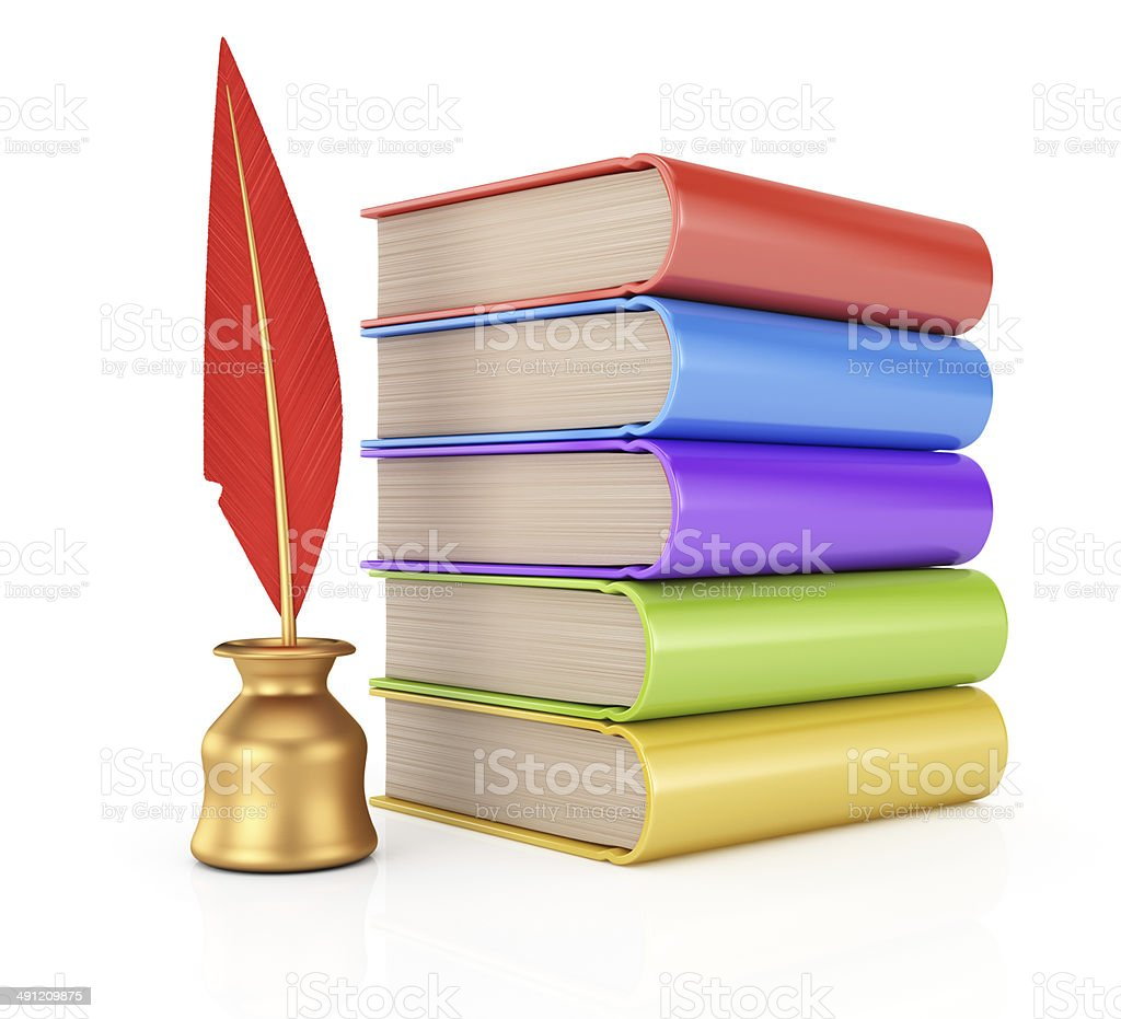Stack of books and  writing quill royalty-free stock photo