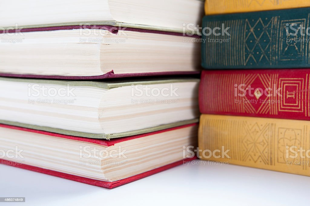 stack of books closeup stock photo