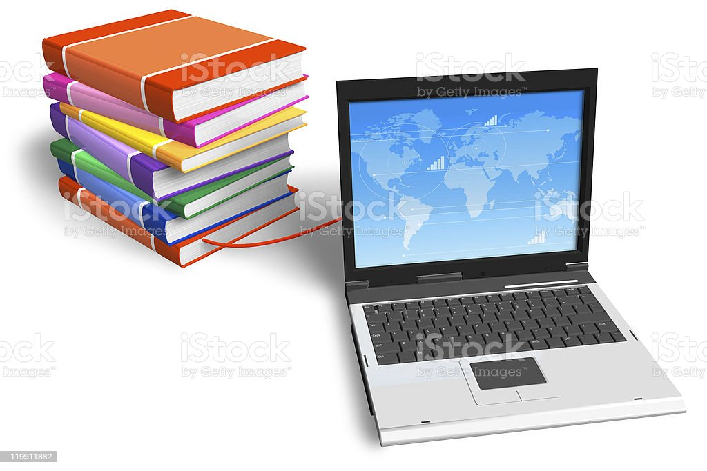 Stack of books connected to laptop royalty-free stock photo