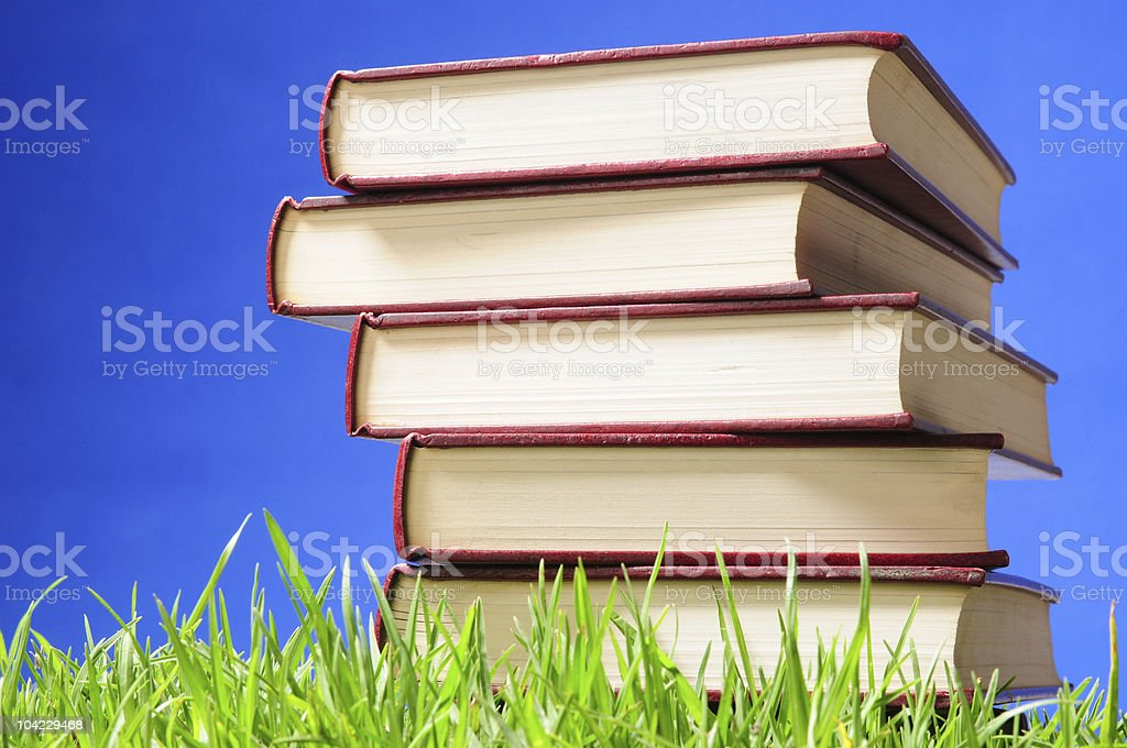 Stack of books. Educational concept. stock photo