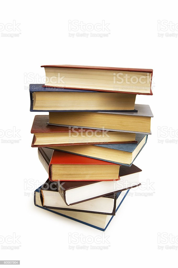 Stack of books isolated on the white background royalty-free stock photo
