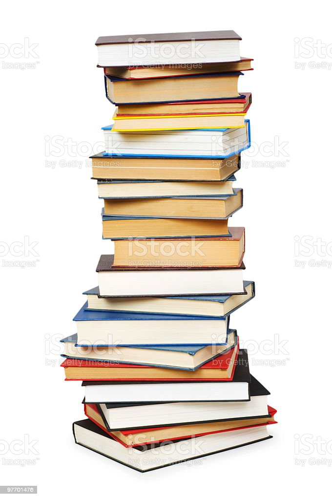 A stack of books isolated on white stock photo