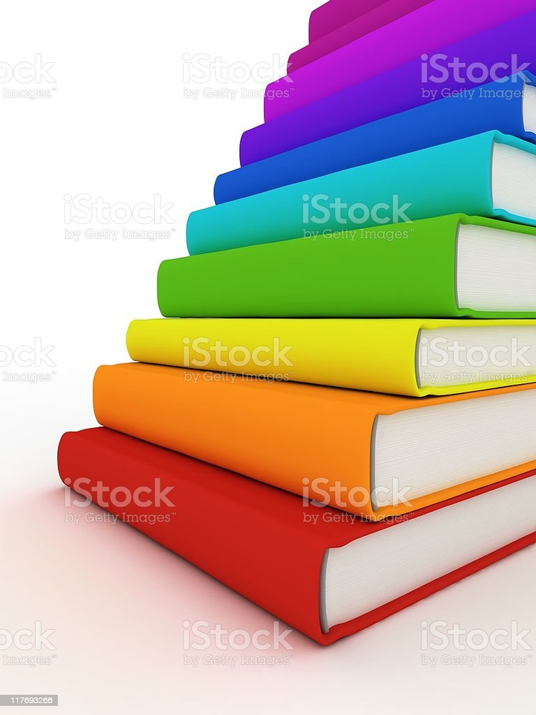 Stack of books like stair royalty-free stock photo