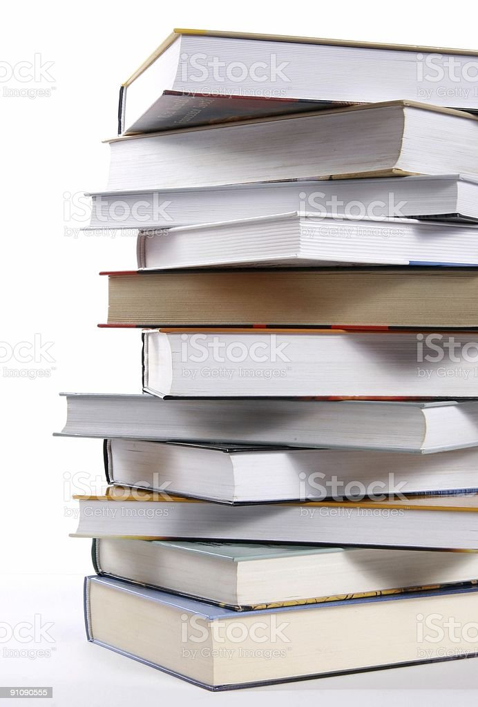 A stack of books on a white background royalty-free stock photo