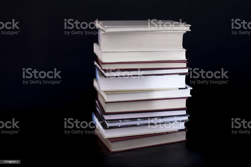 Stack of books on black III royalty-free stock photo