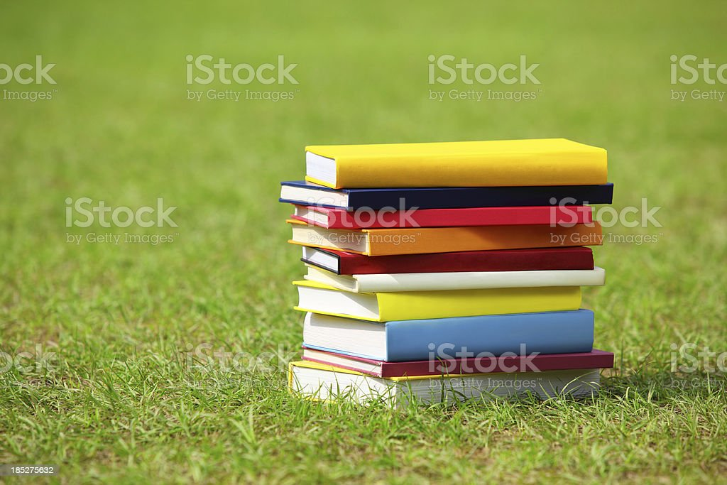 Stack of Books on Grass royalty-free stock photo