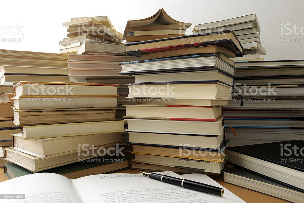 Stack of books on the desk. royalty-free stock photo