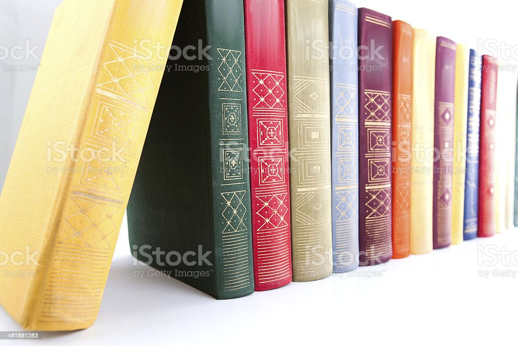 stack of books on white stock photo