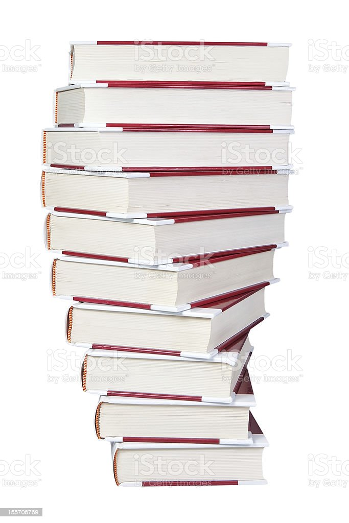 Stack of books spiral closeup on a white background. royalty-free stock photo