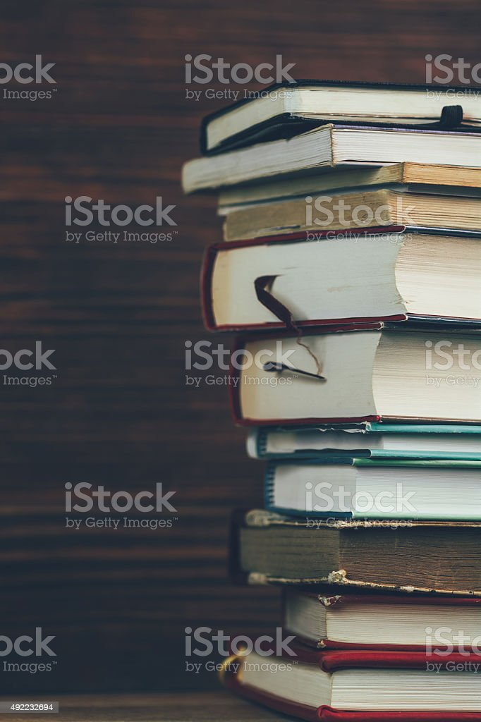 Stack of books vertical royalty-free stock photo