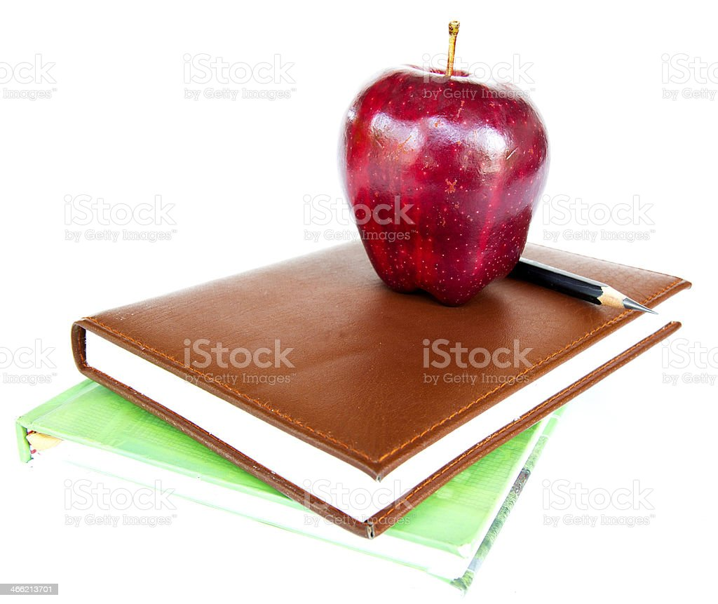 Stack of Books with an Apple and Pencil royalty-free stock photo