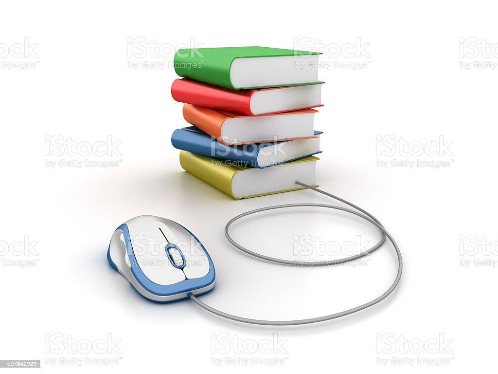 Stack of Books with Computer Mouse stock photo