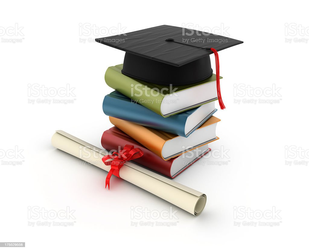 Stack of Books with Graduation Cap stock photo