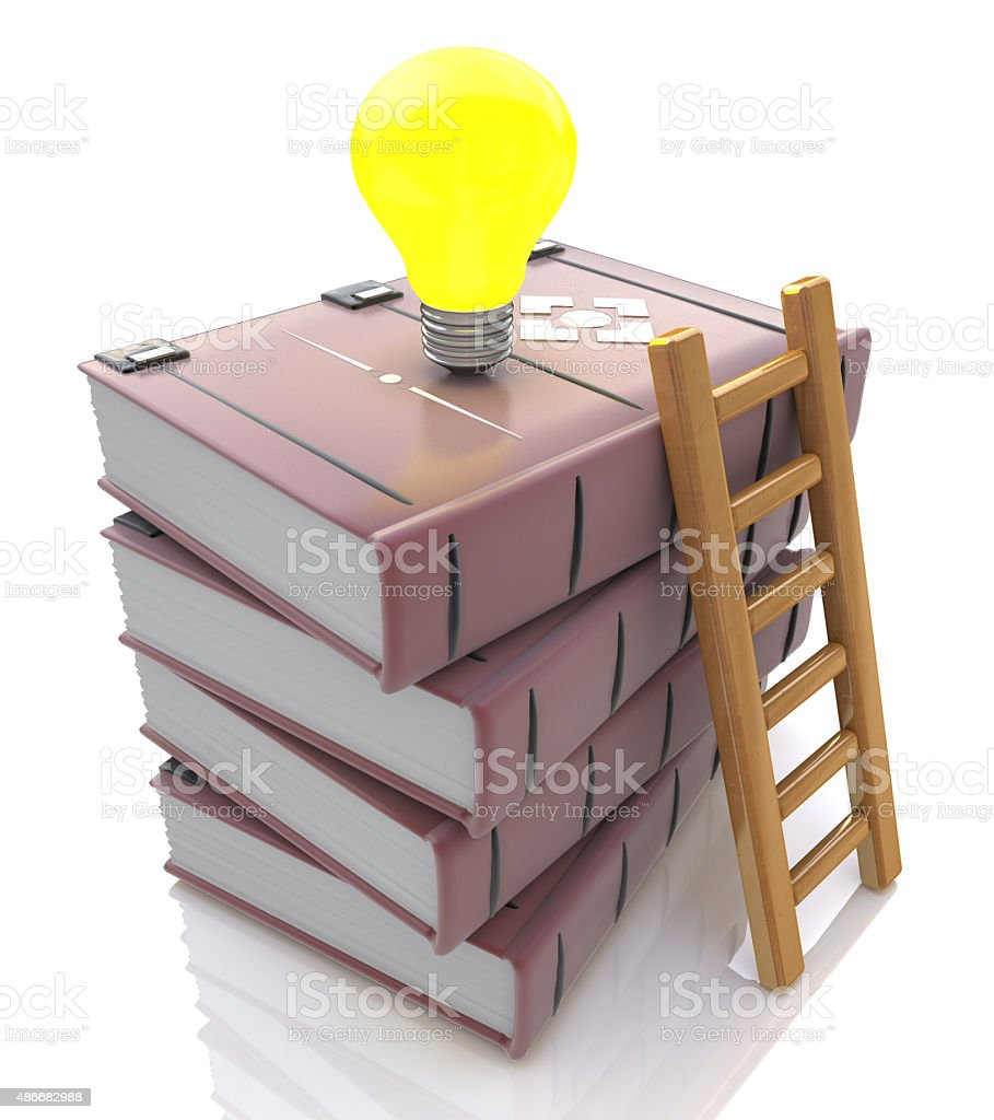 Stack of books with light bulb and ladder stock photo