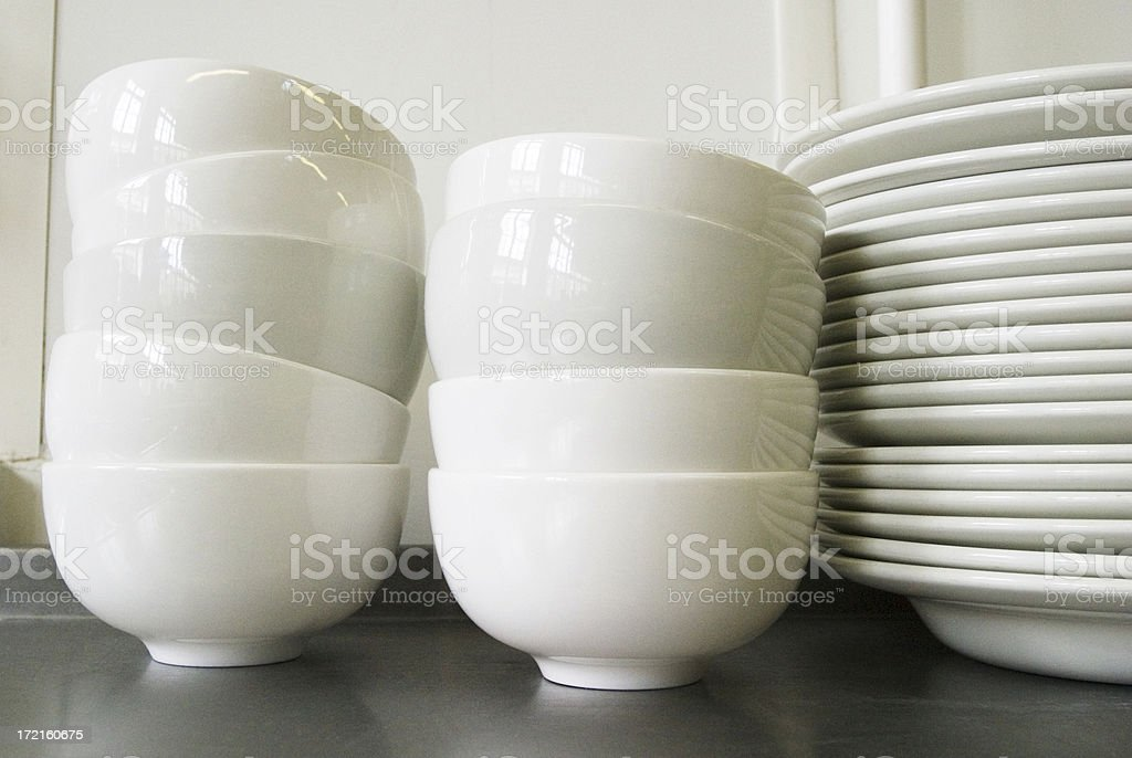 Stack of bowls and plates royalty-free stock photo