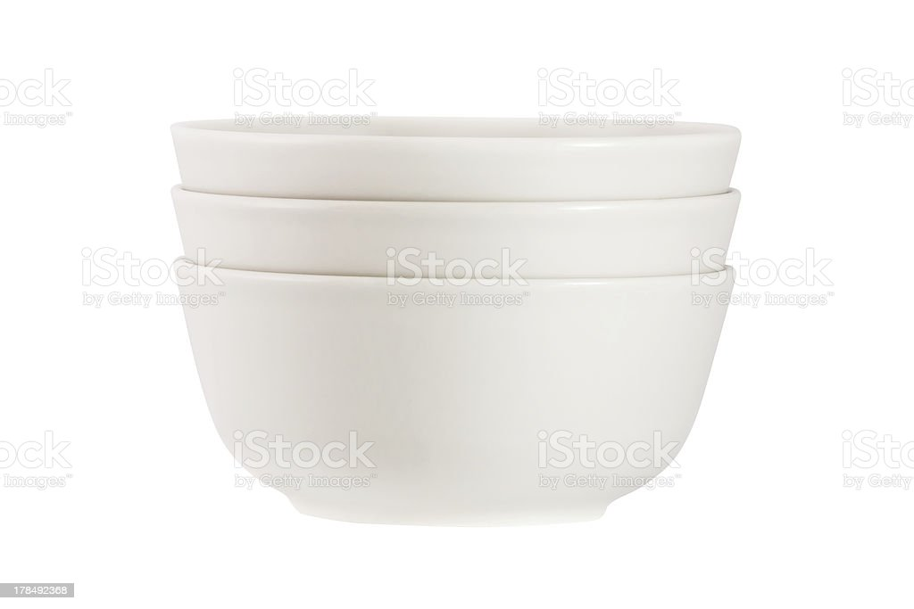 Stack of  bowls isolated on white background stock photo