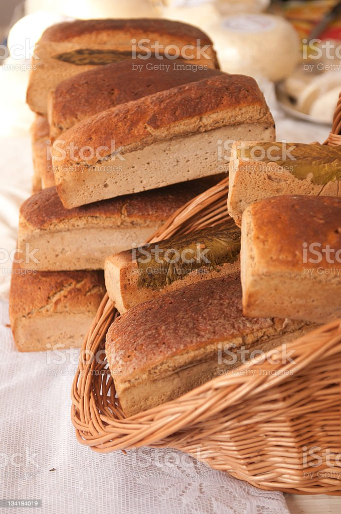 Stack of bread in the basket. royalty-free stock photo