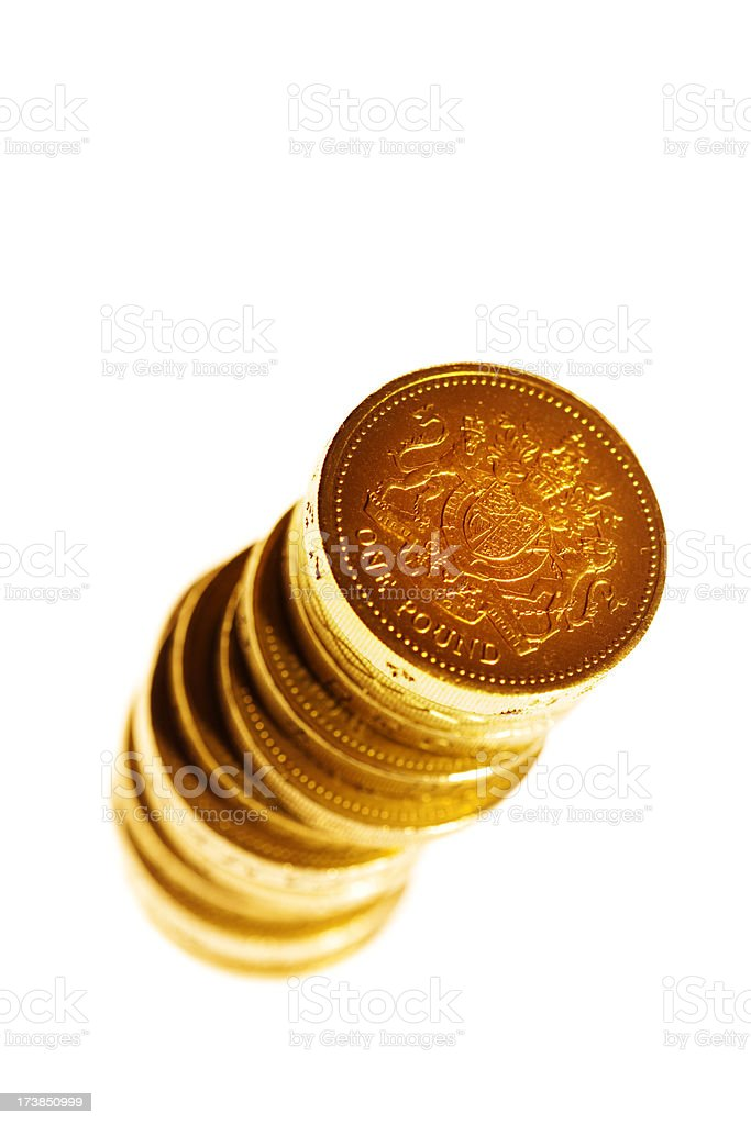 Stack of British One Pound Coins royalty-free stock photo