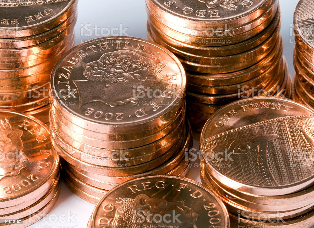Stack of British Pennies. royalty-free stock photo