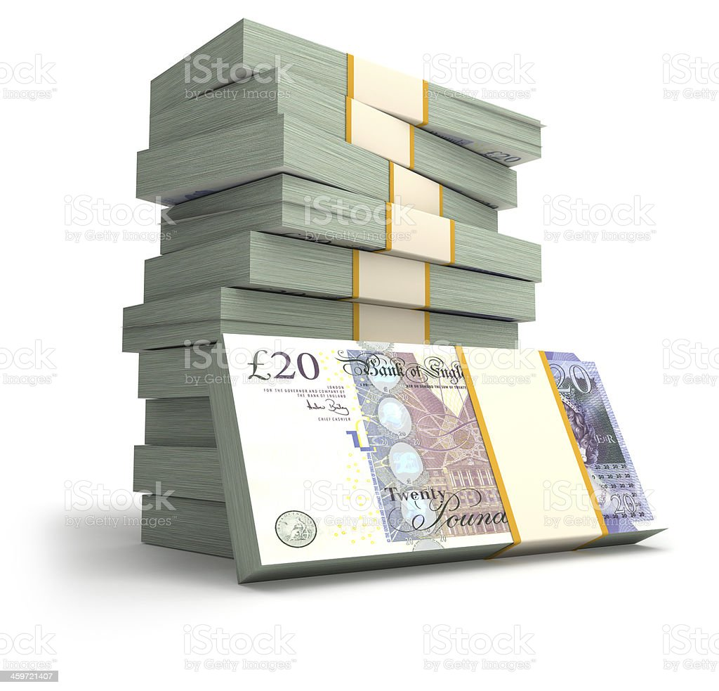 Stack of British Pounds. stock photo