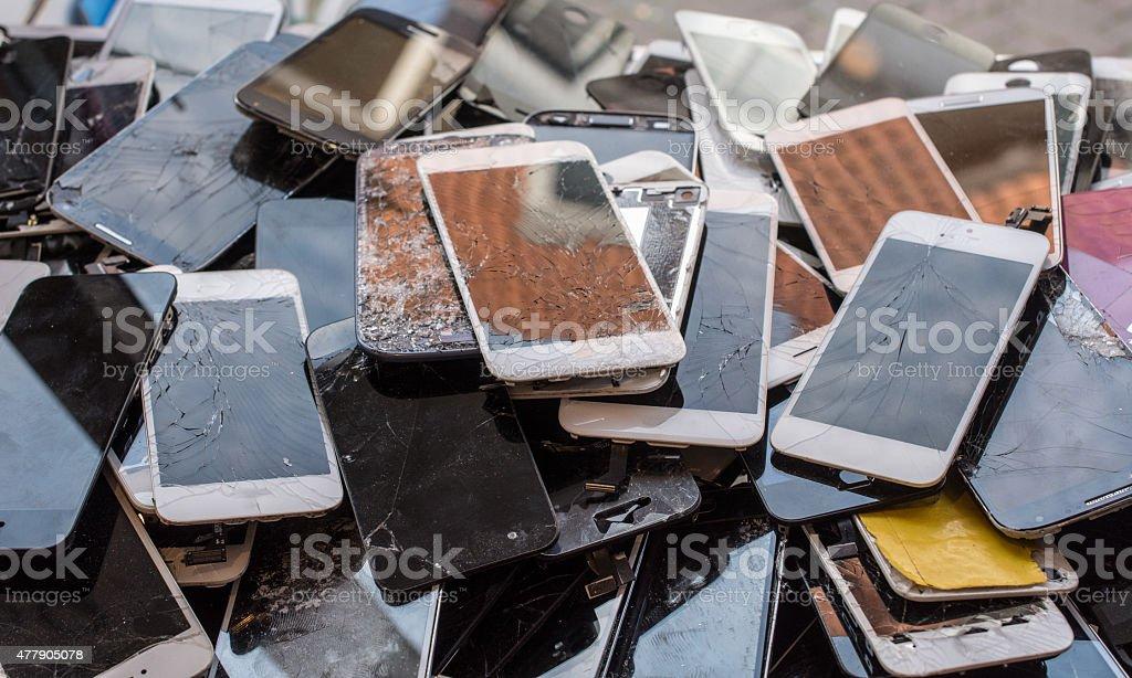 Stack of broken screens stock photo