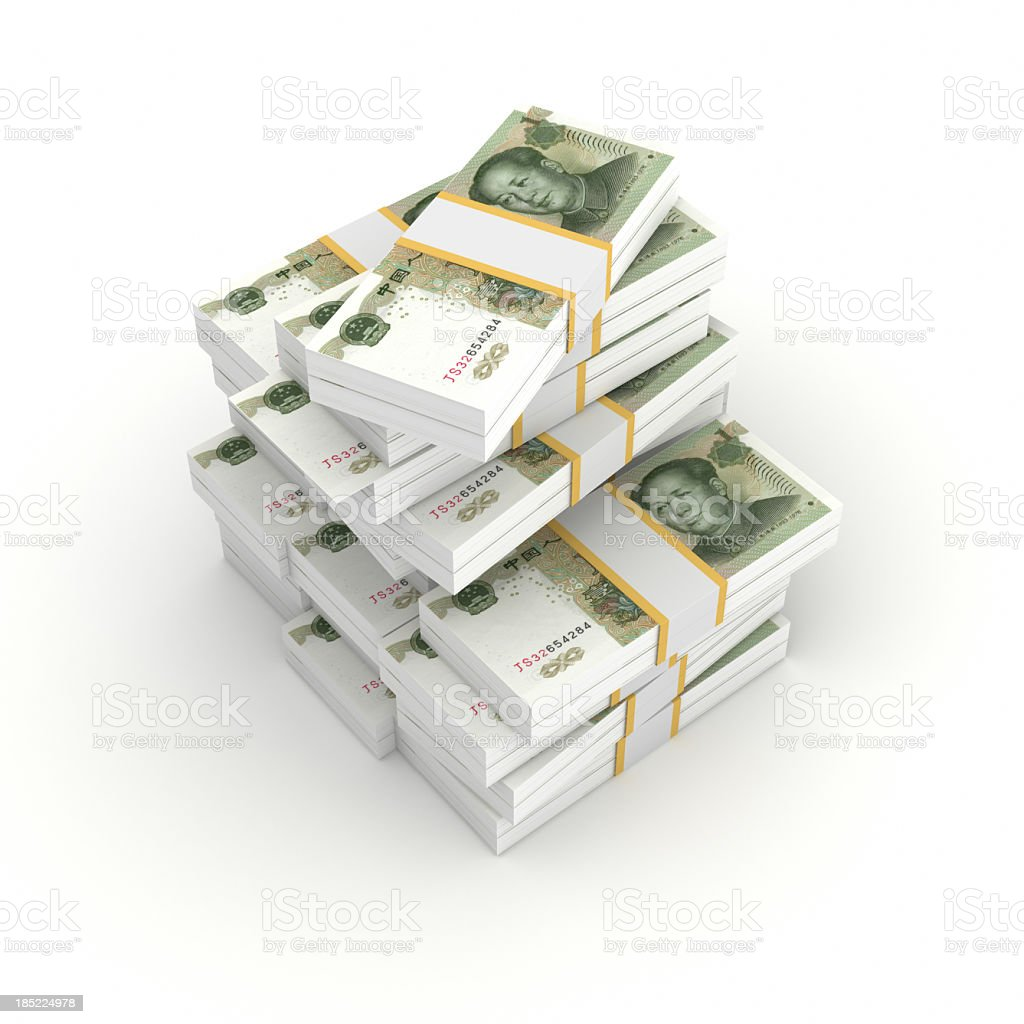 Stack of Bundled Yuan Bills stock photo