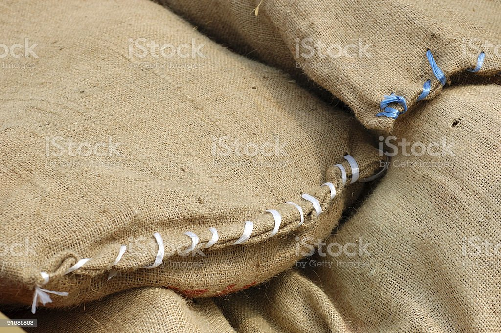 Stack of burlap bags royalty-free stock photo